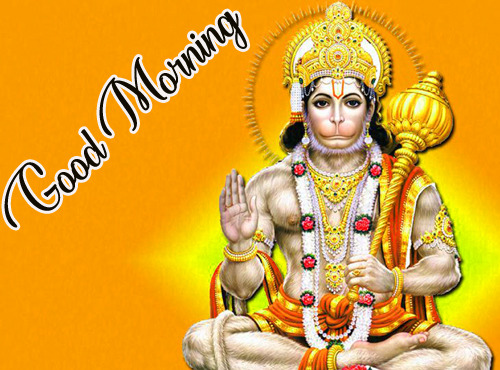 Good Morning God Bless Images Pics for Whatsapp With Lord Hanuman JI