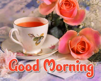 Beautiful Tea Coffee Good Morning Images pics Download With Red Rose