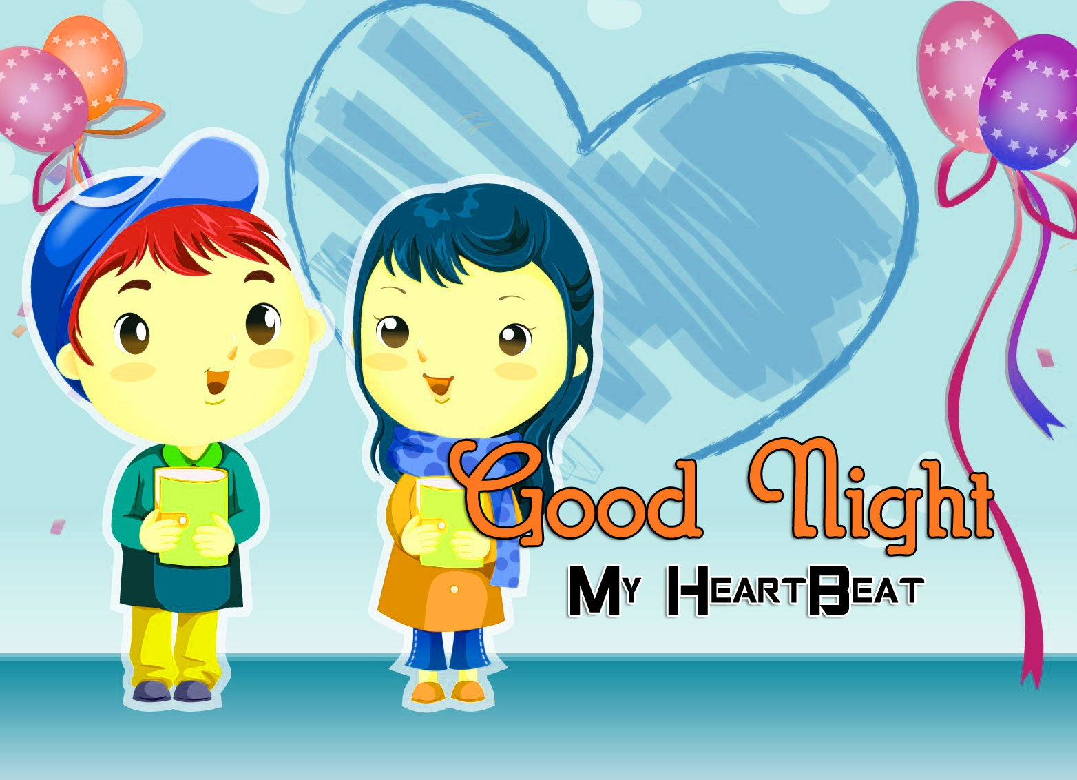 Girlfriend Good Night Wishes Wallpaper With Cartoon