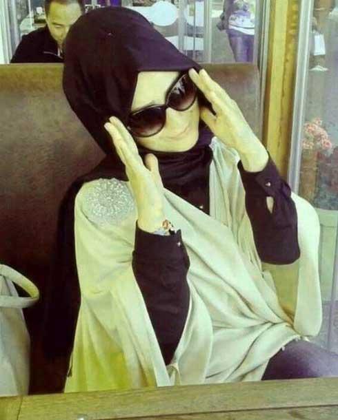 fashion glasses hijab jeans